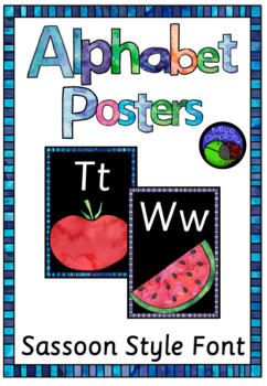 SASSOON STYLE font  watercolor alphabet posters  ~ print, laminate and display!