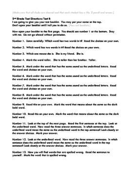 SAT 10 2ND Grade Practice Test B Directions
