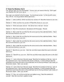 SAT 10 2nd Grade Test A Teacher Directions
