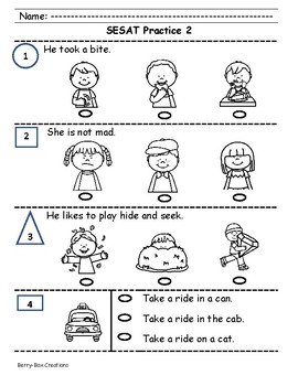 SAT-10 Kindergarten Practice - Sentence Reading Pack 1