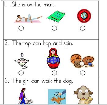 SAT 10 Kindergarten Sentence Reading 3