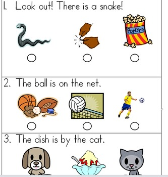 SAT 10 Kindergarten Sentence Reading 4
