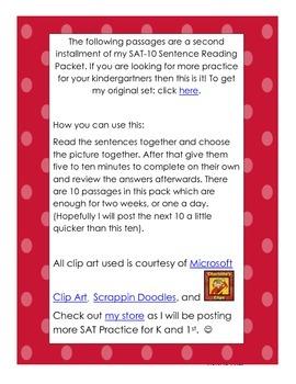 SAT-10 Kindergarten Sentence Reading Packet 2