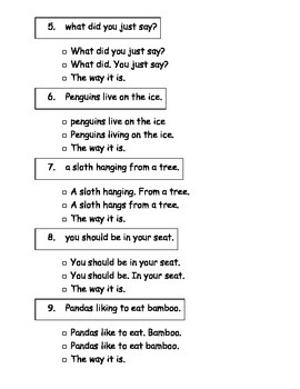 SAT 10 first grade sentence proofreading Language Section