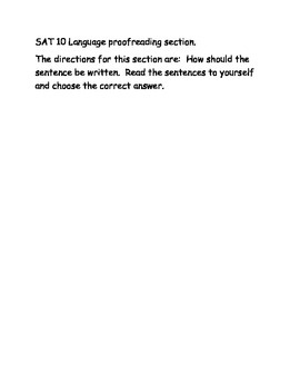 SAT 10 first grade sentence proofreading Language Section 3