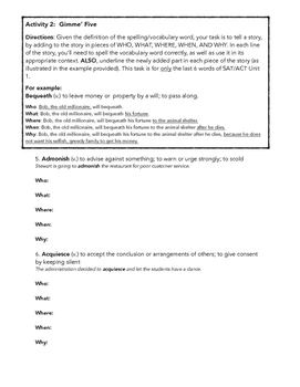 SAT ACT Unit 1 Spelling & Vocabulary Activities/Assessments