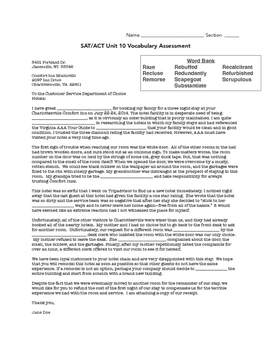 SAT ACT Unit 10 Spelling/Vocabulary Activities & Assessments