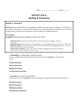 SAT ACT Unit 2 Spelling & Vocabulary Activities/Assessment