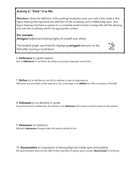 SAT ACT Unit 3 Spelling & Vocabulary Activities/Assessment