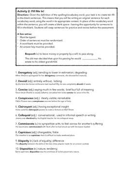 SAT ACT Unit 5 Spelling & Vocabulary Activities/Assessment
