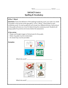 SAT ACT Unit 6 Spelling & Vocabulary Activities/Assessment