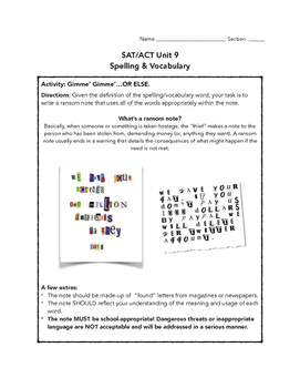 SAT ACT Unit 9 Spelling/Vocabulary Activities & Assessments