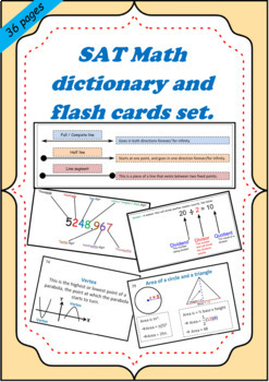 SAT I Math dictionary and flashcards combination pack.
