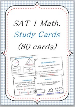 SAT I Math Dictionary Vocabulary Study Flashcards 80 cards
