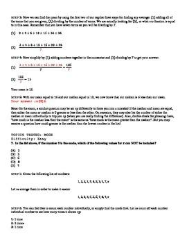 SAT Math: 2. Mean Median and Mode Worksheet (Averages)