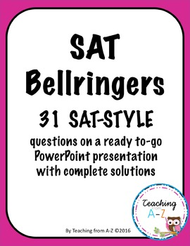 SAT Math Bellringers or Warm Ups - Editable