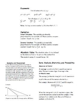 SAT Math Bundle-Practice Tests, Trivia Cards & Cheat Sheet