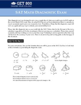 SAT Math Diagnostic Exam