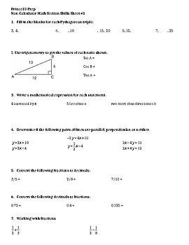 SAT Math Non-Calculator Skills Prep