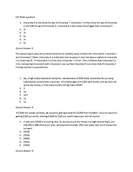 SAT Math Question Set I