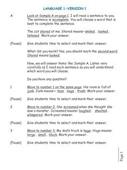 SAT Practice Test in Language for First Grade (Version 1)