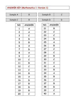 SAT Practice Test in Mathematics for First Grade (Version 1)