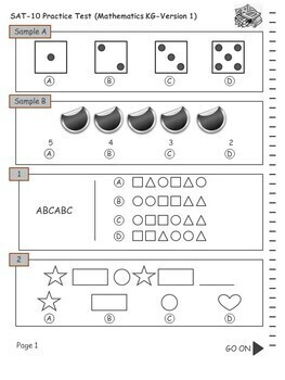 SAT Practice Test in Mathematics for Kindergarten (Version 1)