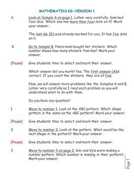 Test/Assessment Resources for Kindergarten (Mathematics-Version 1)