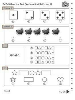 SAT-10 Practice Tests for Kindergarten (Mathematics-Version 1)