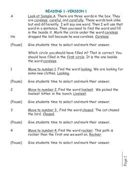 SAT Practice Test in Reading for First Grade (Version 1)