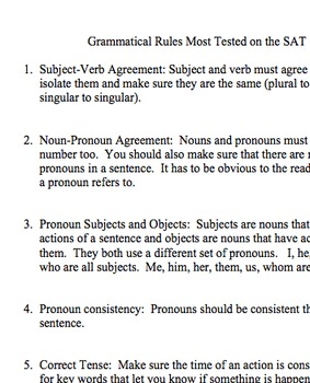 SAT Prep- Grammatical Rules Most Tested on the SAT