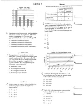 SAT Prep Math Preparation Algebra 1 Geometry & Algebra 2 Worksheets ...