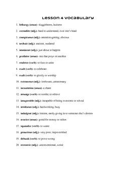 SAT Quack Vocabulary Lesson 4 List