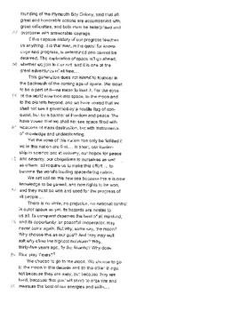 SAT Reading Passage (History-JFK Speech)