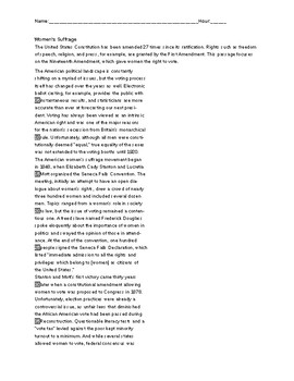 SAT Reading Passage (Women's Suffrage)