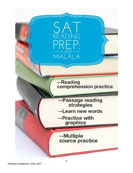 SAT Reading Practice or Common Core Mult Choice-- Text Excerpts from I Am Malala