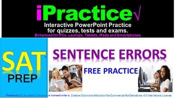 SAT Sentence Errors (FREEBIE): iPractice - Interactive PPT Worksheet SAT Prep