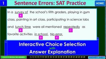 SAT Sentence Errors (SET 1): iPractice -  Interactive PPT Worksheet for SAT Prep