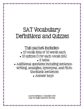 SAT Vocab Definitions and Quizzes - 100 Words and 10 Quizzes