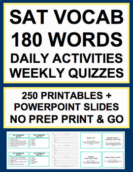 SAT Vocabulary Bell Ringers - 180 Daily SAT Words, PPT, 36 Weekly Quizzes & Key