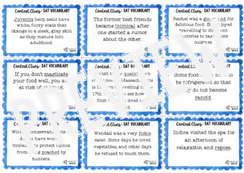 SAT Vocabulary Context Clue Task Cards - High School: Set 2