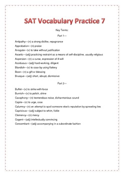 SAT Vocabulary Practice 7