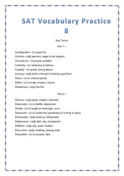SAT Vocabulary Practice 8