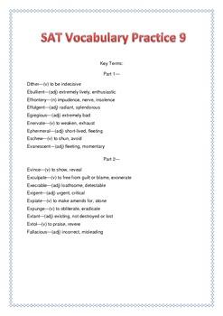SAT Vocabulary Practice 9