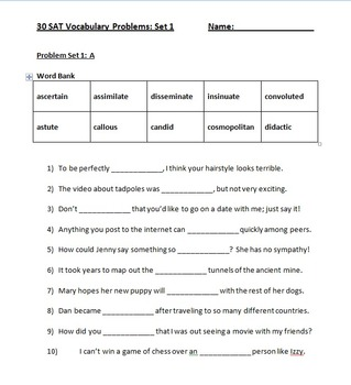 SAT Vocabulary Practice Set 1 30 Fill in the Blank ...