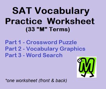 "SAT Vocabulary Practice Worksheet (33 ""M"" words) - Puzzles"