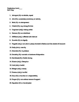 SAT Vocabulary Prep Quiz #3