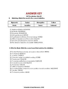 SAT Vocabulary Prep.- Quiz One