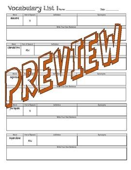 SAT Vocabulary Unit Weeks 1-20 Worksheets
