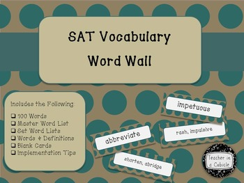 SAT Vocabulary Word Wall - Brown and Teal